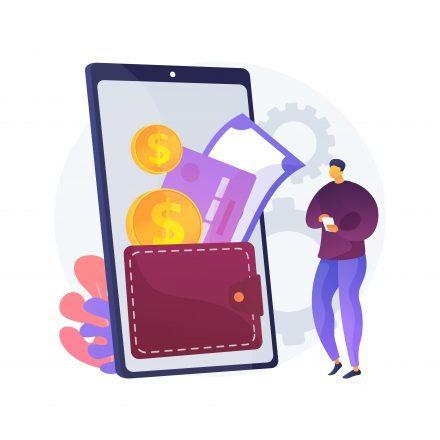 Digital wallet abstract concept vector illustration.